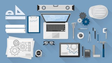 Construction engineer desktop with work tools, tablet and laptop clip art vector