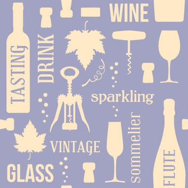 Wine and drinking vintage seamless pattern