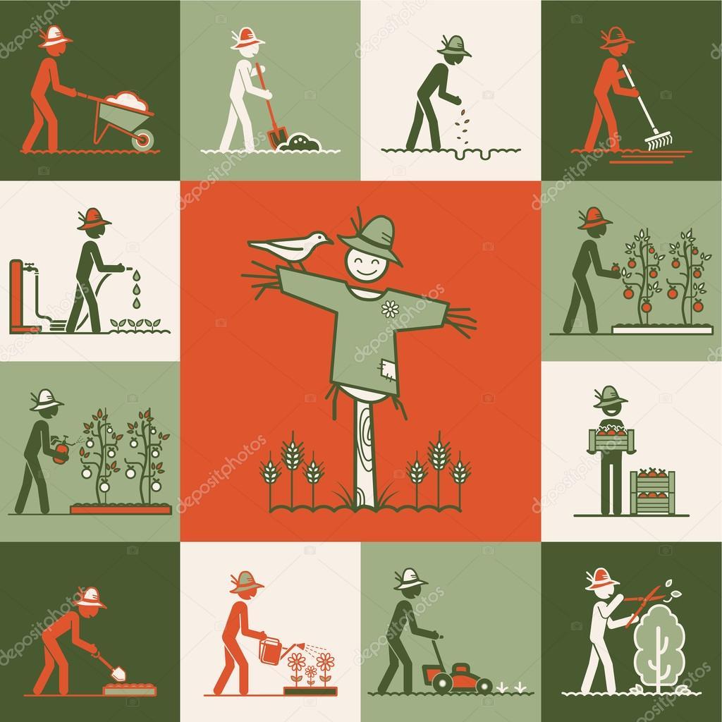 Gardening web icons set