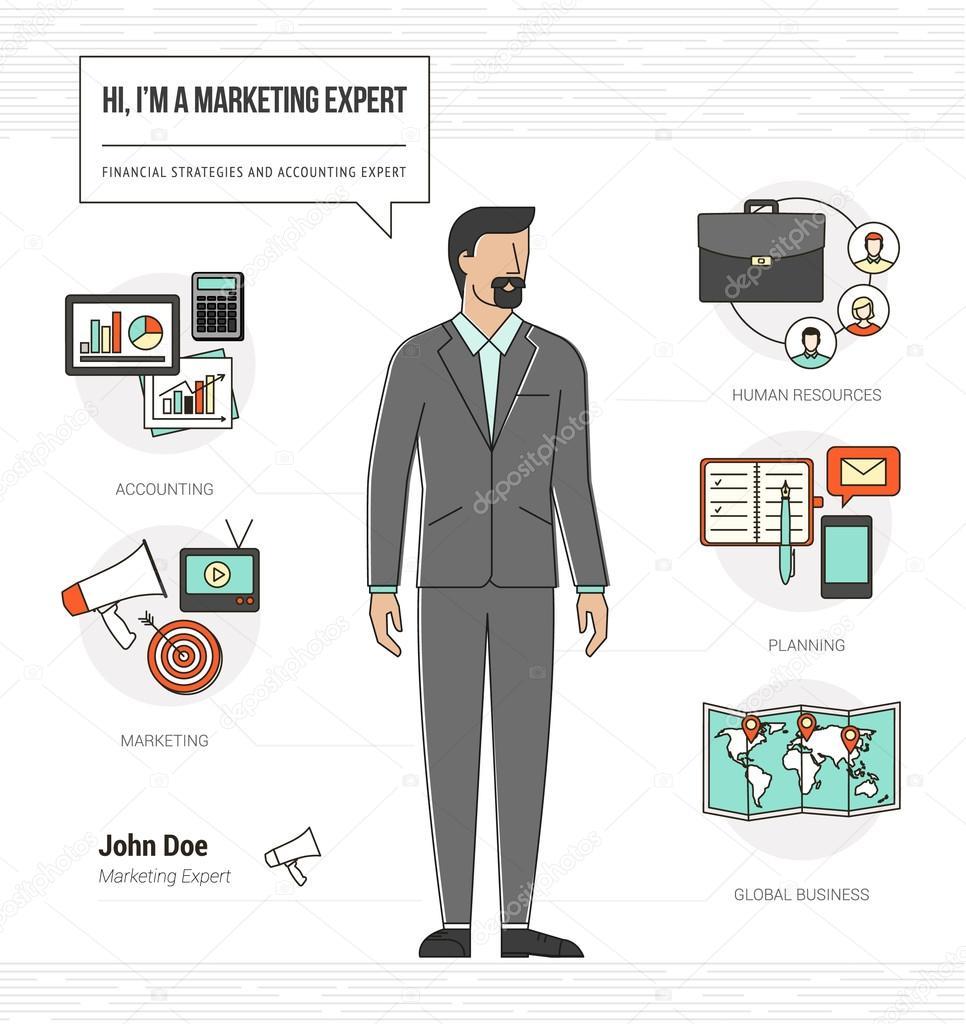 Profesional marketing habilidades de expertos infografía — Archivo ...