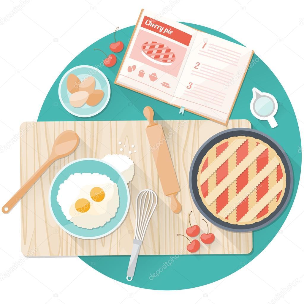 Vue De Dessus De Plan De Travail Cuisine Image Vectorielle
