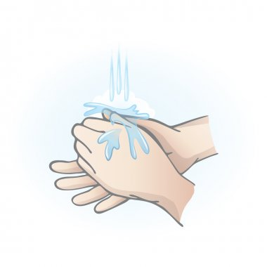 Hands washing with water