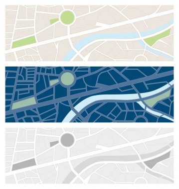Abstract colorful city maps