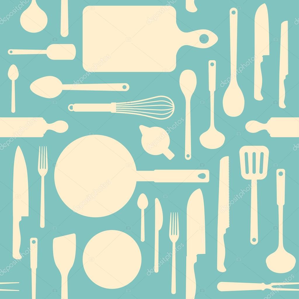 Cocina vintage y utensilios de cocina — Vector de stock © elenabs ...