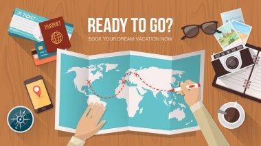 Explorer planning a trip around the world