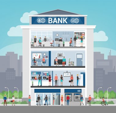Bank building with people