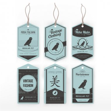 Vintage cardboard clothing tags set