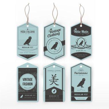 Vintage cardboard clothing tags set