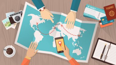 People planning a trip around the world