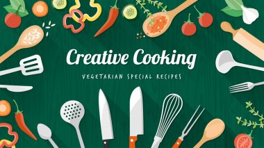 Vegetarian and vegan food recipes banner with kitchenware, utensils and chopped vegetables, copyspace at center stock vector