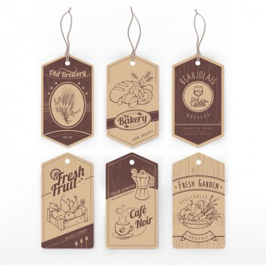 Food vintage labels with stripes