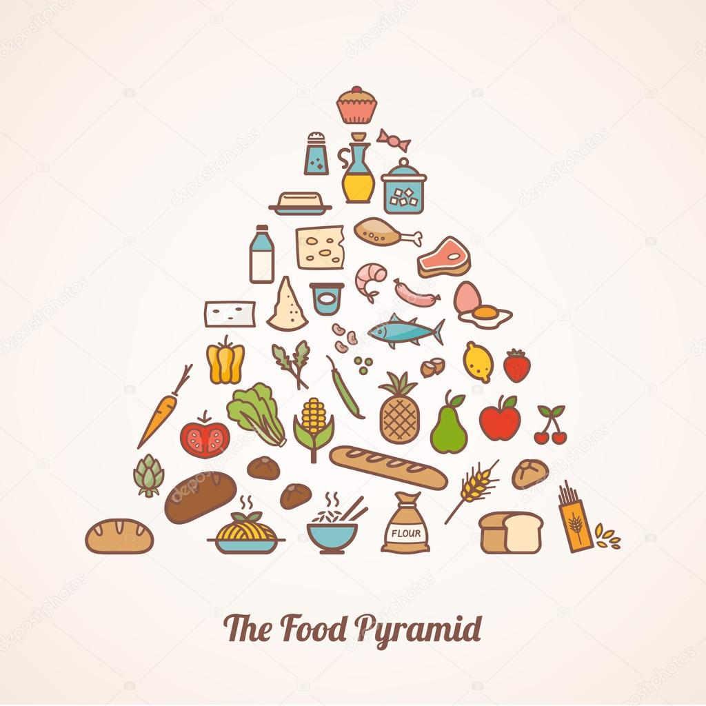 The food pyramid composed