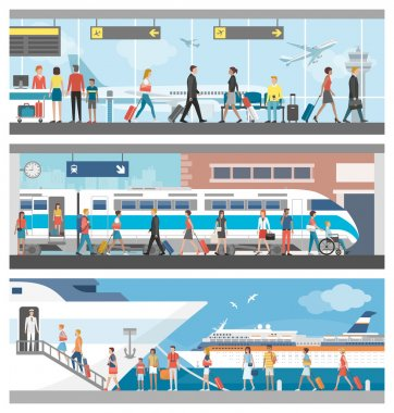 Transportation and travel banner set: business people and tourists at the airport, at the railway station and boarding on a luxury cruise ship stock vector