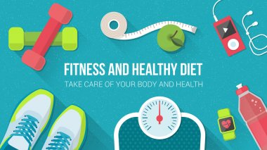 Fitness, sport, diet and healthy lifestyle banner with copy space and training equipment clip art vector