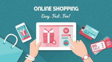 Online shopping and delivery concept