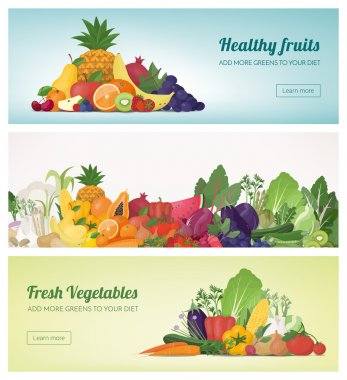 Fruit and vegetables banner set