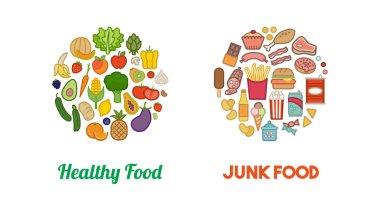 Healthy vegetables and junk food