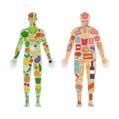 "Картина, постер, плакат, фотообои ""здоровое тело и нездоровая пища "", артикул 117280168"