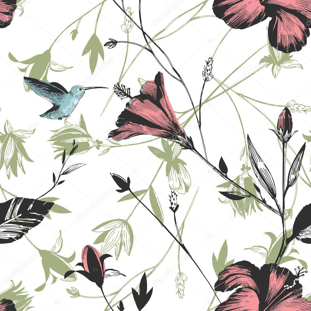 Colibri Blumen Hibiskus Vogel Farbmuster Stockvektor Mozgovik83