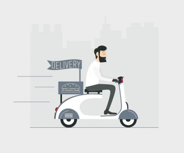 delivery man riding scooter
