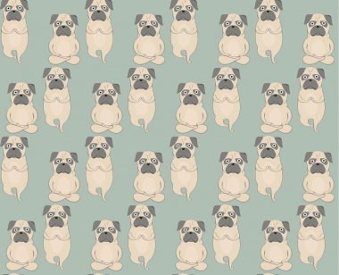 Pugs meditation yoga pattern. Cute dogs. Vector seamless pattern