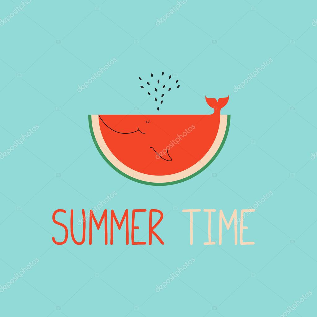 summer time greeting cards template with watermelon slice.