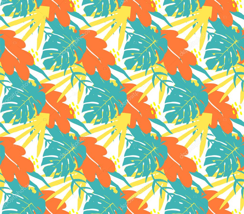 Tropical palm leaves, pattern background