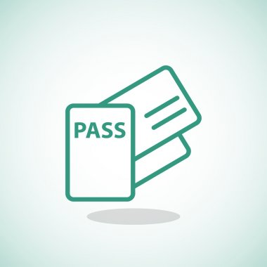Passport and tickets icon.