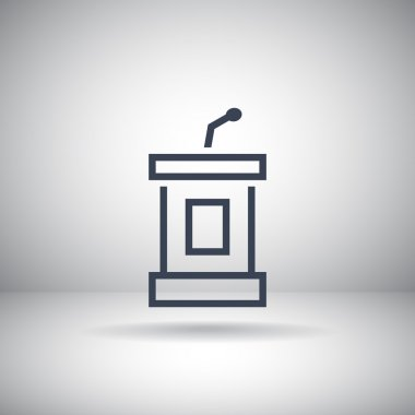 Tribune with microphone icon