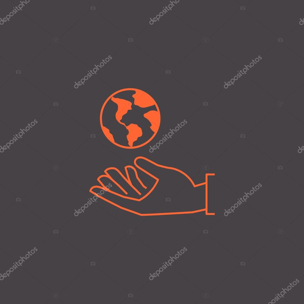 Earth globe in hand icon