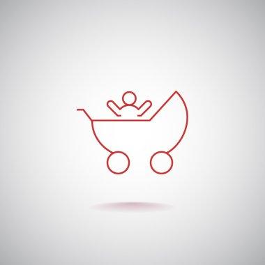 baby pram, stroller icon