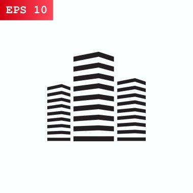 City skyscrapers, buildings icon. vector illustration stock vector