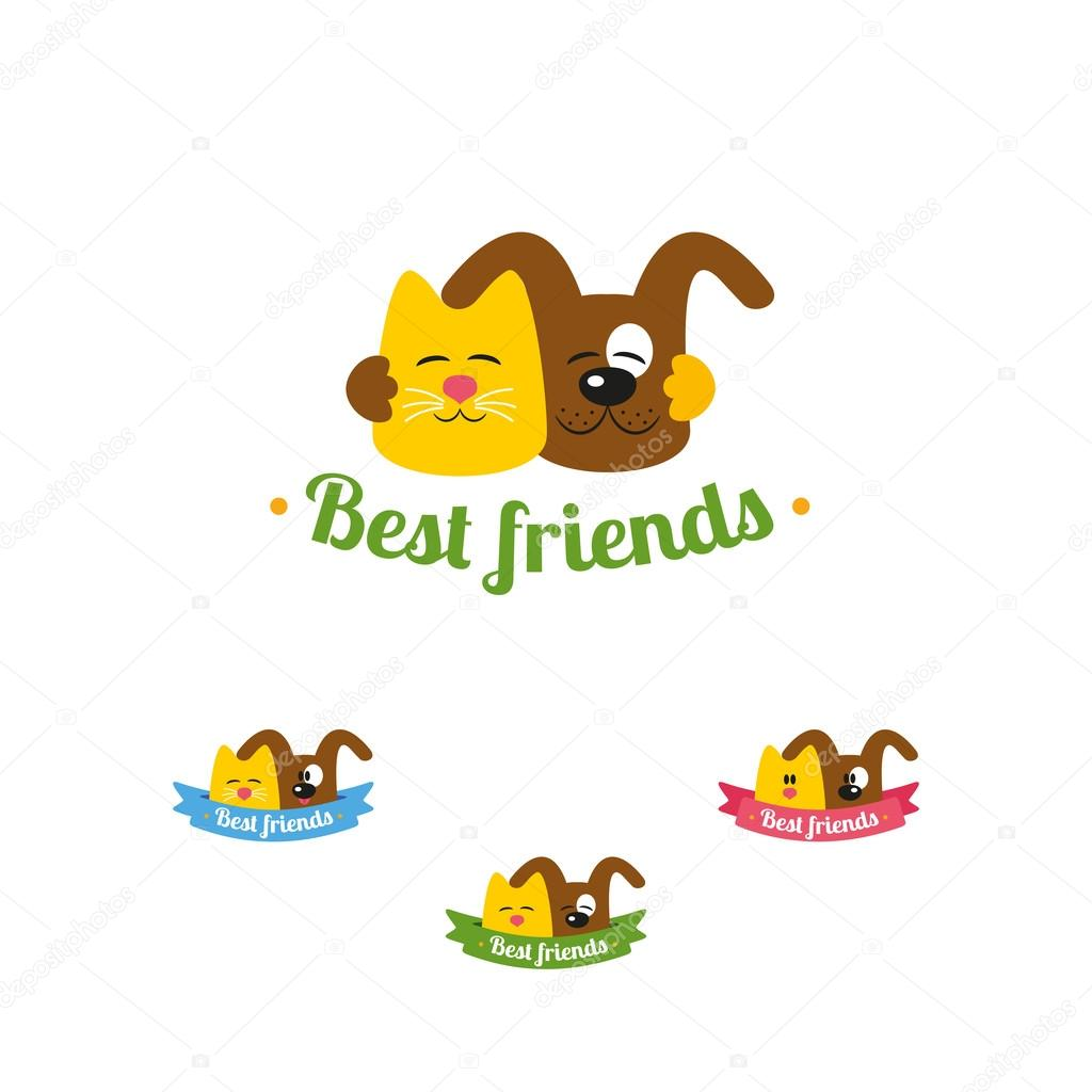 Cat and dog best friends logo — Stock Vector