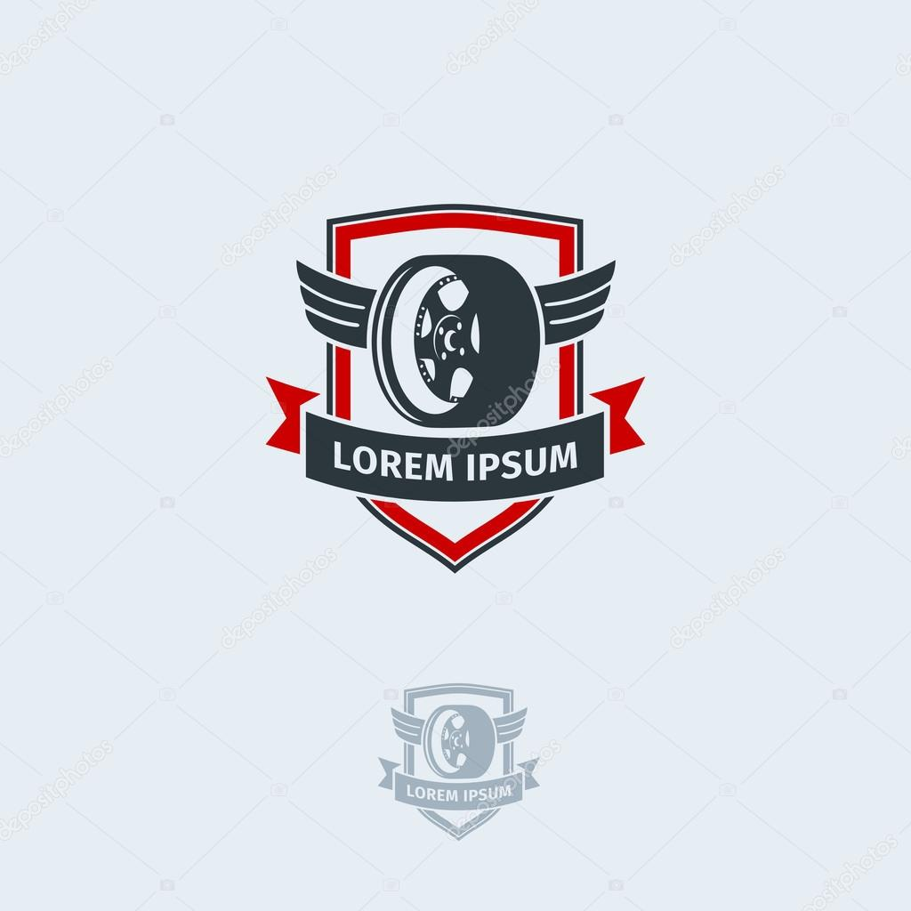 Rueda de coche con alas en el escudo. Plantilla de diseño de logo ...