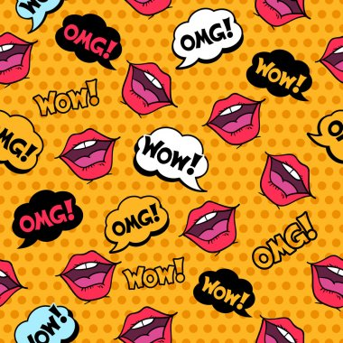 Wow! Seamless pattern in pop art comic style with speech bubbles