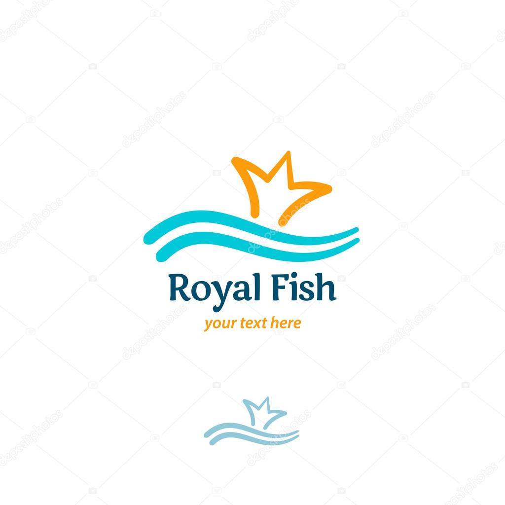 Royal Fish Logotype Two Fishermen Catch A Big Fish With Tail In F