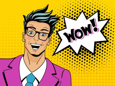 Wow pop art man. Young surprised man in glasses with open mouth. Vector illustration in retro comic style. Vector pop art background. clip art vector
