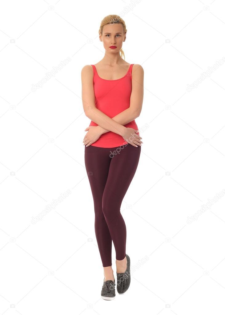 Женщина в сексуальных черных колготках