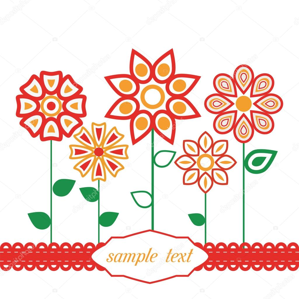 Mazzo Di Fiori Stilizzato.Vector Background With Stylized Flower Leaves Stock Vector