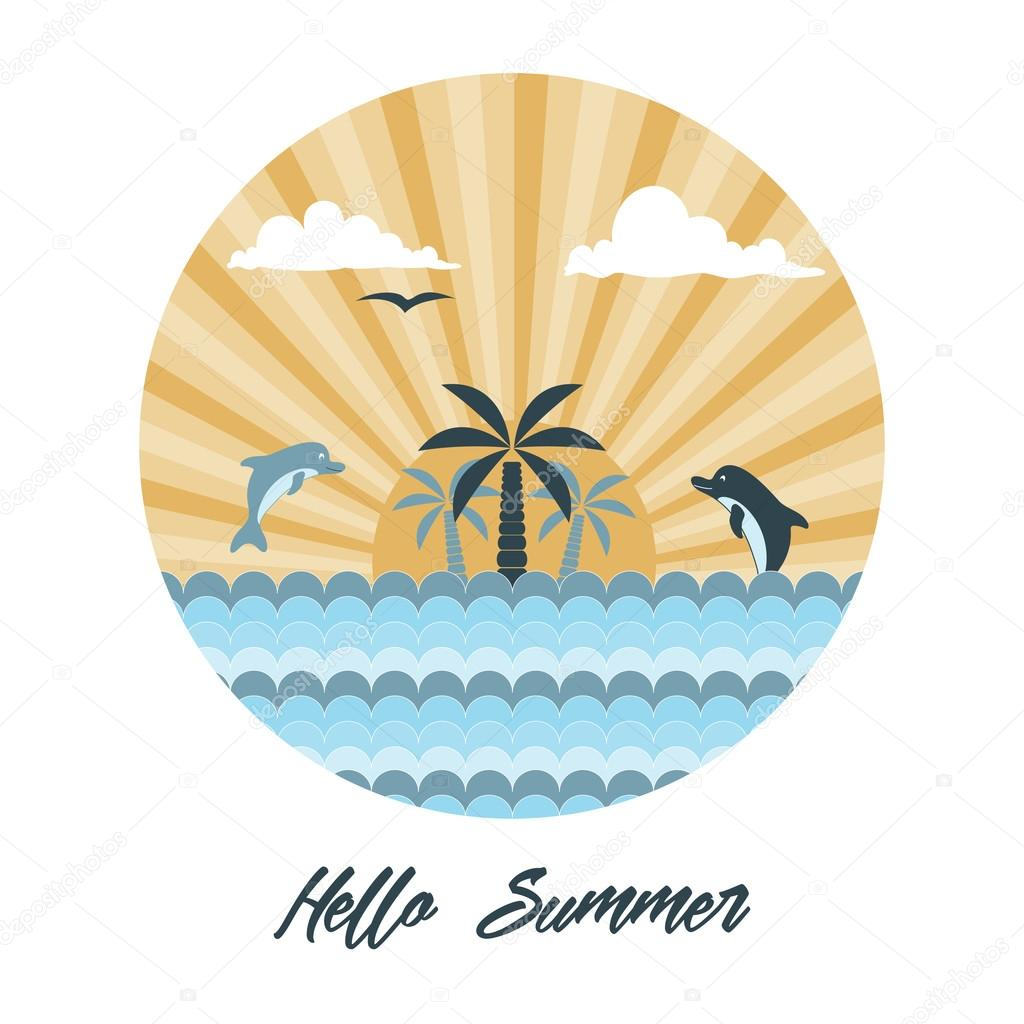 Palm trees, sun and dolphin logo design template