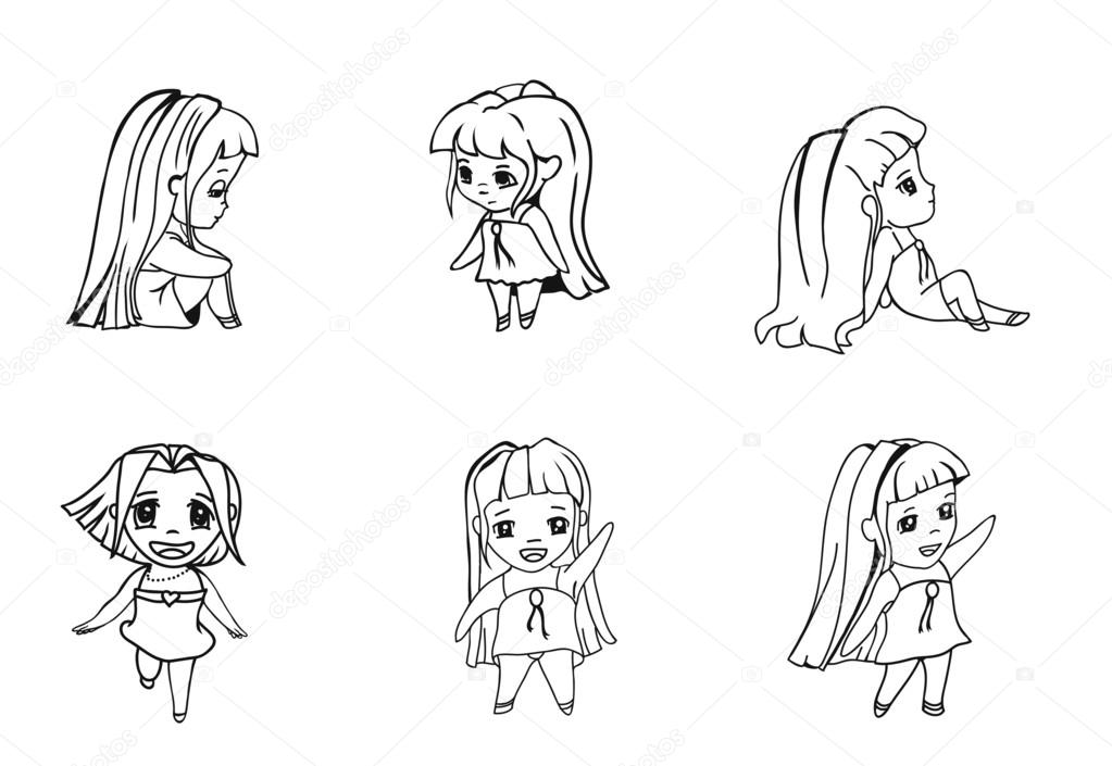 Six Pictures Anime Girls In Different Poses Stock Vector C Beshbel