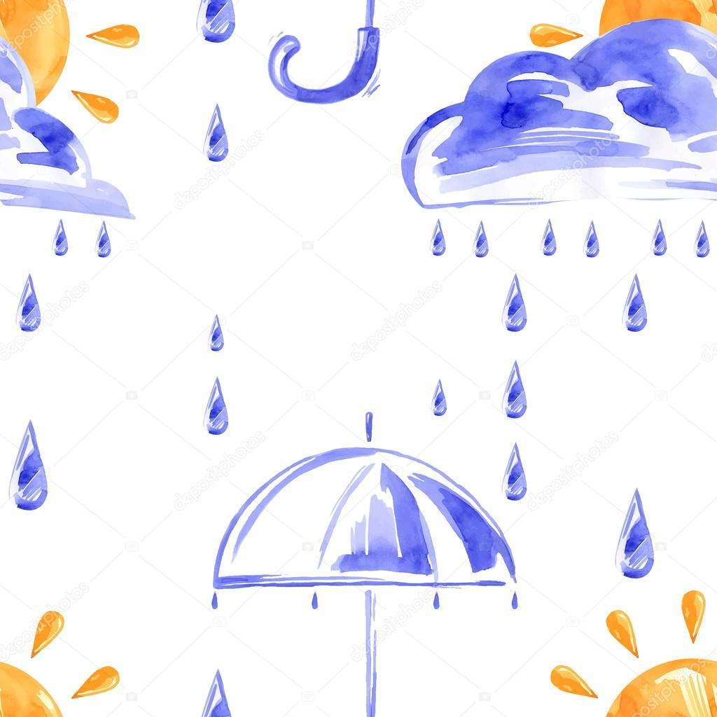 Yağmur Bulutlar Güneş Ve şemsiye Ile Sulu Boya Dikişsiz Desen