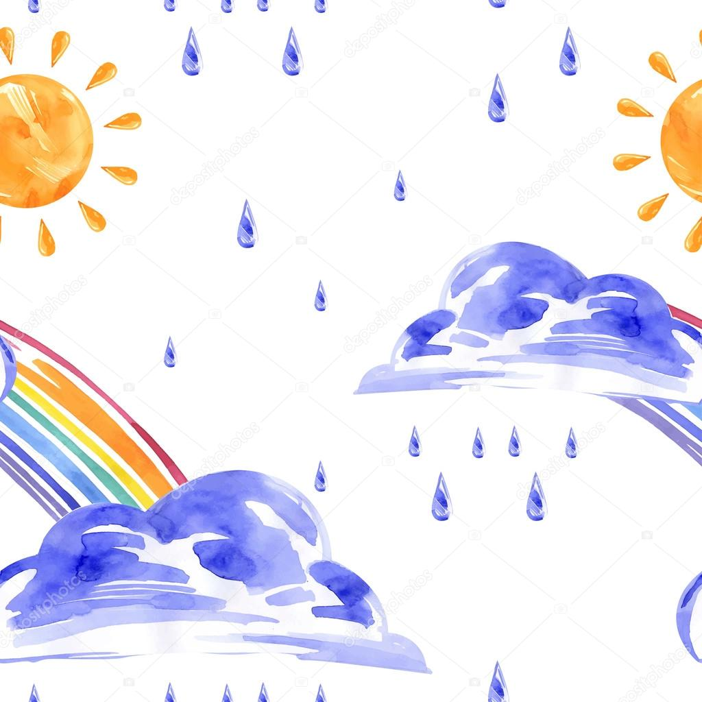 Watercolor seamless pattern with rainbow, sun and rain. Vector.