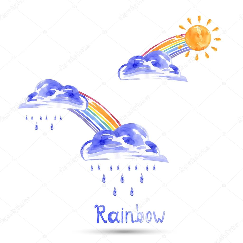 Watercolor illustration of a rainbow, sun and rain. Vector.