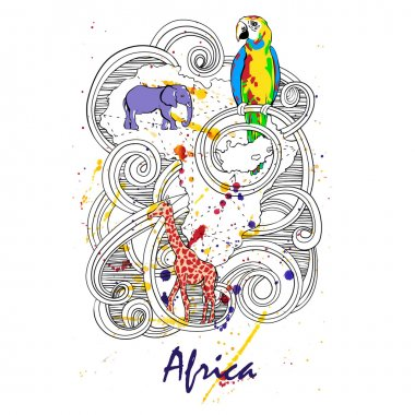 Africa abstract illustration with elephant, giraffe and parrot on a watercolor background. Vector.