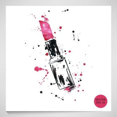 Watercolor illustration of red lipstick. Vector. clip art vector