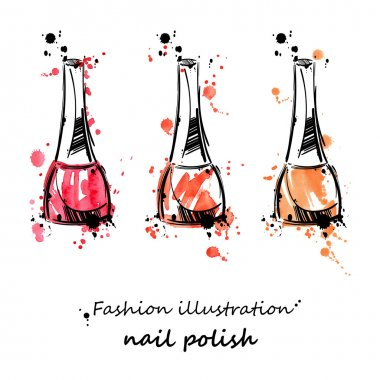 Vector illustration of nail polish. Fashion illustration. Beauty and fashion. Watercolor. clip art vector