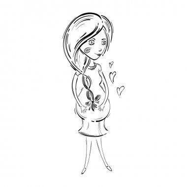 Vector illustration of a pregnant woman.
