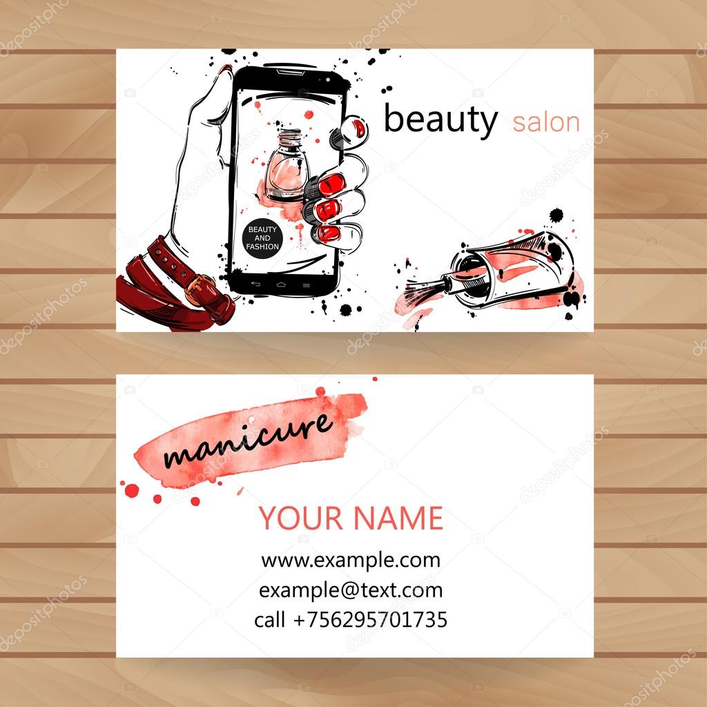 Vector watercolor illustration. Business card.