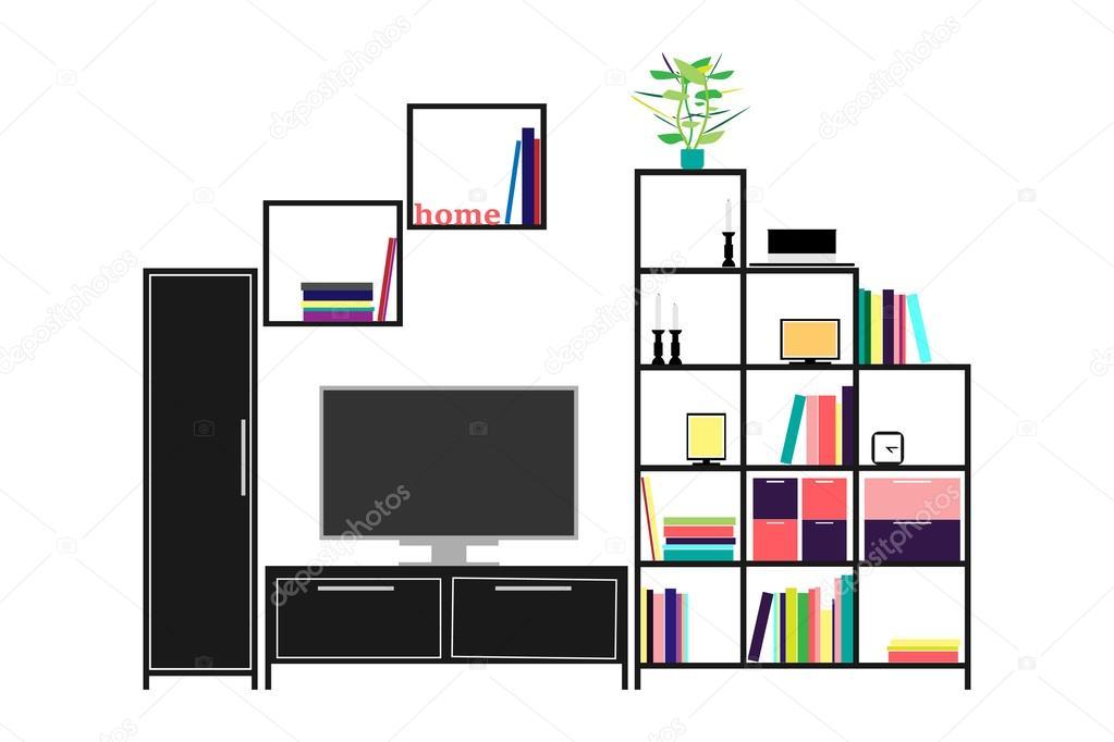 Design Woonkamer Accessoires : Woonkamer meubels en huis accessoires u stockvector tyhinka